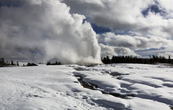 Παλαιός πιστός, χειμώνας, Yellowstone Στοκ Φωτογραφίες