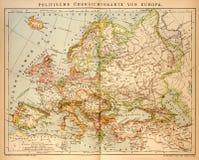 Παλαιός πολιτικός χάρτης της Ευρώπης Στοκ Εικόνες
