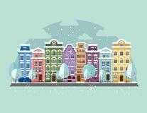 παλαιός πόλης χειμώνας απεικόνιση αποθεμάτων