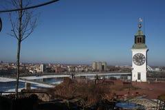 Παλαιός πύργος ρολογιών στο φρούριο Petrovaradin Στοκ Φωτογραφίες
