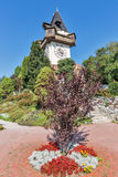 Παλαιός πύργος ρολογιών Uhrturm στο Γκραζ, Αυστρία Στοκ Φωτογραφίες