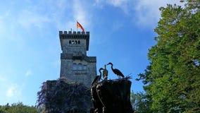 Παλαιός πύργος στο υποστήριγμα Akhun, ορόσημο του Sochi στοκ εικόνα