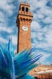 Παλαιός πύργος τούβλου και μπλε γυαλί Murano Στοκ Φωτογραφίες