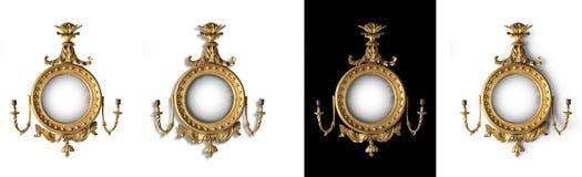 Παλαιός στρογγυλός καθρέφτης αιθουσών καθρεφτών Στοκ Εικόνα
