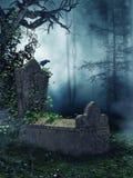Παλαιός τάφος με τις πράσινες αμπέλους Στοκ εικόνα με δικαίωμα ελεύθερης χρήσης