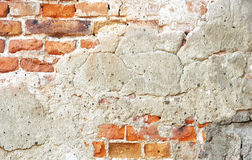 Παλαιός τοίχος με τα πορτοκαλιά τούβλα Στοκ Εικόνα