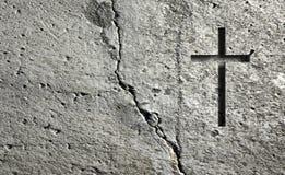 Παλαιός τοίχος με το σταυρό απεικόνιση αποθεμάτων