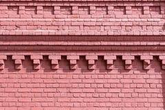 Παλαιός τουβλότοιχος του κόκκινου χρώματος με το όμορφο σχέδιο Στοκ Εικόνα