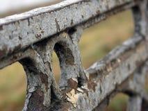 Παλαιός φράκτης σιδήρου με το χρώμα αποφλοίωσης της γέφυρας σε Tver Στοκ φωτογραφία με δικαίωμα ελεύθερης χρήσης