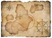 Παλαιός χάρτης θησαυρών περγαμηνής πειρατών που απομονώνεται απεικόνιση αποθεμάτων