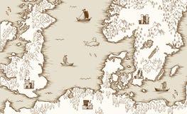 Παλαιός χάρτης της Βόρεια Θάλασσας, της Μεγάλης Βρετανίας και Σκανδιναβίας, διανυσματική απεικόνιση απεικόνιση αποθεμάτων