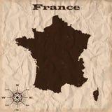 Παλαιός χάρτης της Γαλλίας με το grunge και το τσαλακωμένο έγγραφο επίσης corel σύρετε το διάνυσμα απεικόνισης απεικόνιση αποθεμάτων