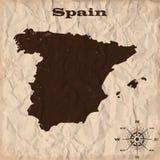 Παλαιός χάρτης της Ισπανίας με το grunge και το τσαλακωμένο έγγραφο επίσης corel σύρετε το διάνυσμα απεικόνισης απεικόνιση αποθεμάτων
