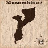 Παλαιός χάρτης της Μοζαμβίκης με το grunge και το τσαλακωμένο έγγραφο επίσης corel σύρετε το διάνυσμα απεικόνισης Στοκ εικόνα με δικαίωμα ελεύθερης χρήσης