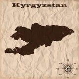 Παλαιός χάρτης του Κιργιστάν με το grunge και το τσαλακωμένο έγγραφο επίσης corel σύρετε το διάνυσμα απεικόνισης διανυσματική απεικόνιση