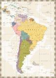 Παλαιός χάρτης χρώματος της Νότιας Αμερικής Στοκ Εικόνες
