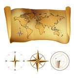 Παλαιός χάρτης wold σε παλαιό χαρτί με την πυξίδα διανυσματική απεικόνιση