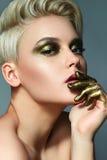 Παλαιός χρυσός Makeup Στοκ φωτογραφίες με δικαίωμα ελεύθερης χρήσης