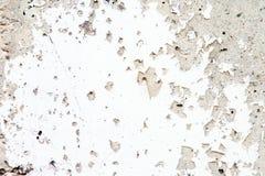 Παλαιό άσπρο χρώμα αποφλοίωσης σε έναν συμπαγή τοίχο με τις ρωγμές Στοκ Φωτογραφία
