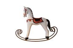 Παλαιό άλογο λικνίσματος παιχνιδιών για τη διακόσμηση, που απομονώνεται στο άσπρο πνεύμα Στοκ Εικόνες