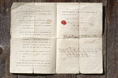 Παλαιό έγγραφο από 1824 Στοκ φωτογραφία με δικαίωμα ελεύθερης χρήσης