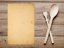 Παλαιό έγγραφο για τις επιλογές ή το υπόβαθρο συνταγής Στοκ Φωτογραφία
