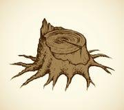 παλαιό δέντρο κολοβωμάτω& Διανυσματικό σκίτσο Στοκ εικόνα με δικαίωμα ελεύθερης χρήσης