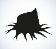 παλαιό δέντρο κολοβωμάτω& Διανυσματικό σκίτσο Στοκ εικόνες με δικαίωμα ελεύθερης χρήσης