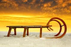 παλαιό έλκηθρο ξύλινο Στοκ Φωτογραφία