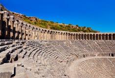 Παλαιό αμφιθέατρο Aspendos σε Antalya, Τουρκία Στοκ εικόνες με δικαίωμα ελεύθερης χρήσης