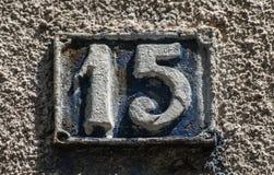 Παλαιό αναδρομικό πιάτο αριθμός 15 χυτοσιδήρου Στοκ Εικόνες