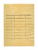 Παλαιό αρχαίο τσαλακωμένο έγγραφο που απομονώνεται Στοκ Εικόνες