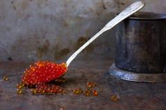 Παλαιό ασημένιο κουτάλι με το χαβιάρι μέταλλο ανασκόπησης σκο& Εκλεκτής ποιότητας κούπα μετάλλων Στοκ Φωτογραφίες