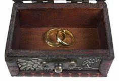 παλαιό δαχτυλίδι στο αρχαίο στήθος θησαυρών Στοκ εικόνα με δικαίωμα ελεύθερης χρήσης