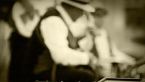 Παλαιό βίντεο ταινιών στιγμής καταγραφής μουσικής ζωνών της Jazz φιλμ μικρού μήκους