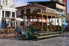 Παλαιό βαγόνι εμπορευμάτων τραμ στην κύρια πλατεία Plaza Prat σε Iquique, Χιλή Στοκ Φωτογραφίες
