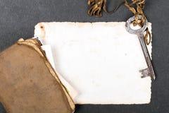 παλαιό βιβλίο, σκουριασμένη βασική και κενή φωτογραφία Στοκ Φωτογραφίες