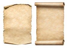 Παλαιό εγγράφου σύνολο απεικόνισης κυλίνδρων ή parchments τρισδιάστατο Στοκ Φωτογραφίες