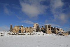 Παλαιό εγκαταλειμμένο χωριό στο χειμώνα Στοκ Εικόνα