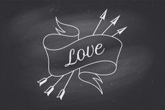 Παλαιό εκλεκτής ποιότητας έμβλημα κορδελλών με την αγάπη κειμένων στο ύφος χάραξης απεικόνιση αποθεμάτων