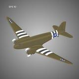 Παλαιό εκλεκτής ποιότητας επιβατηγό αεροσκάφος μηχανών εμβόλων Θρυλική αναδρομική διανυσματική απεικόνιση αεροσκαφών Στρατιωτικός Στοκ Φωτογραφία