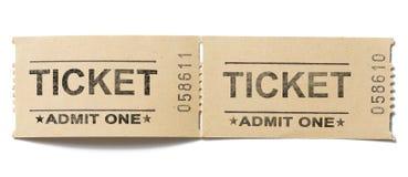 Παλαιό εκλεκτής ποιότητας ζευγάρι εισιτηρίων εγγράφου που απομονώνεται Στοκ Εικόνες