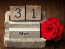Παλαιό εκλεκτής ποιότητας ημερολόγιο που παρουσιάζει την ημερομηνία 31$ος του Μαΐου Στοκ φωτογραφία με δικαίωμα ελεύθερης χρήσης