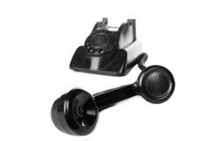 Παλαιό εκλεκτής ποιότητας μαύρο τηλέφωνο απομονωμένος Στοκ Εικόνα
