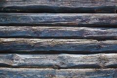 Παλαιό εκλεκτής ποιότητας μπλε υπόβαθρο τοίχων κούτσουρων Στοκ Φωτογραφία