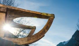 Παλαιό εκλεκτής ποιότητας ξύλινο έλκηθρο Στοκ Φωτογραφία