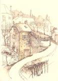 Παλαιό ευρωπαϊκό τεμάχιο πόλης οδών Στοκ εικόνες με δικαίωμα ελεύθερης χρήσης