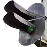 Παλαιό ηλικίας ξεπερασμένο οξυδωμένο grunge εκλεκτής ποιότητας σήμα πράσινου φωτός σιδηροδρόμου, απομονωμένη μακρο κινηματογράφησ Στοκ Φωτογραφία