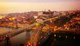 παλαιό ηλιοβασίλεμα του Πόρτο Πορτογαλία Στοκ Εικόνες
