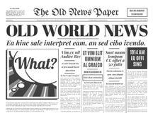 Παλαιό διανυσματικό πρότυπο σχεδίου εφημερίδων Στοκ εικόνα με δικαίωμα ελεύθερης χρήσης